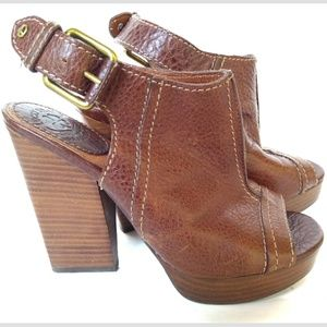 Lucky Brand Brown Leather Mules 6.5 Chunky Heels